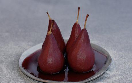 Vegan Grain-Free Red Wine Poached Pears
