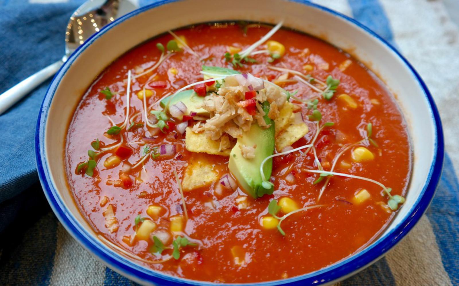 Vegan Tortilla Soup Topped with Avocado