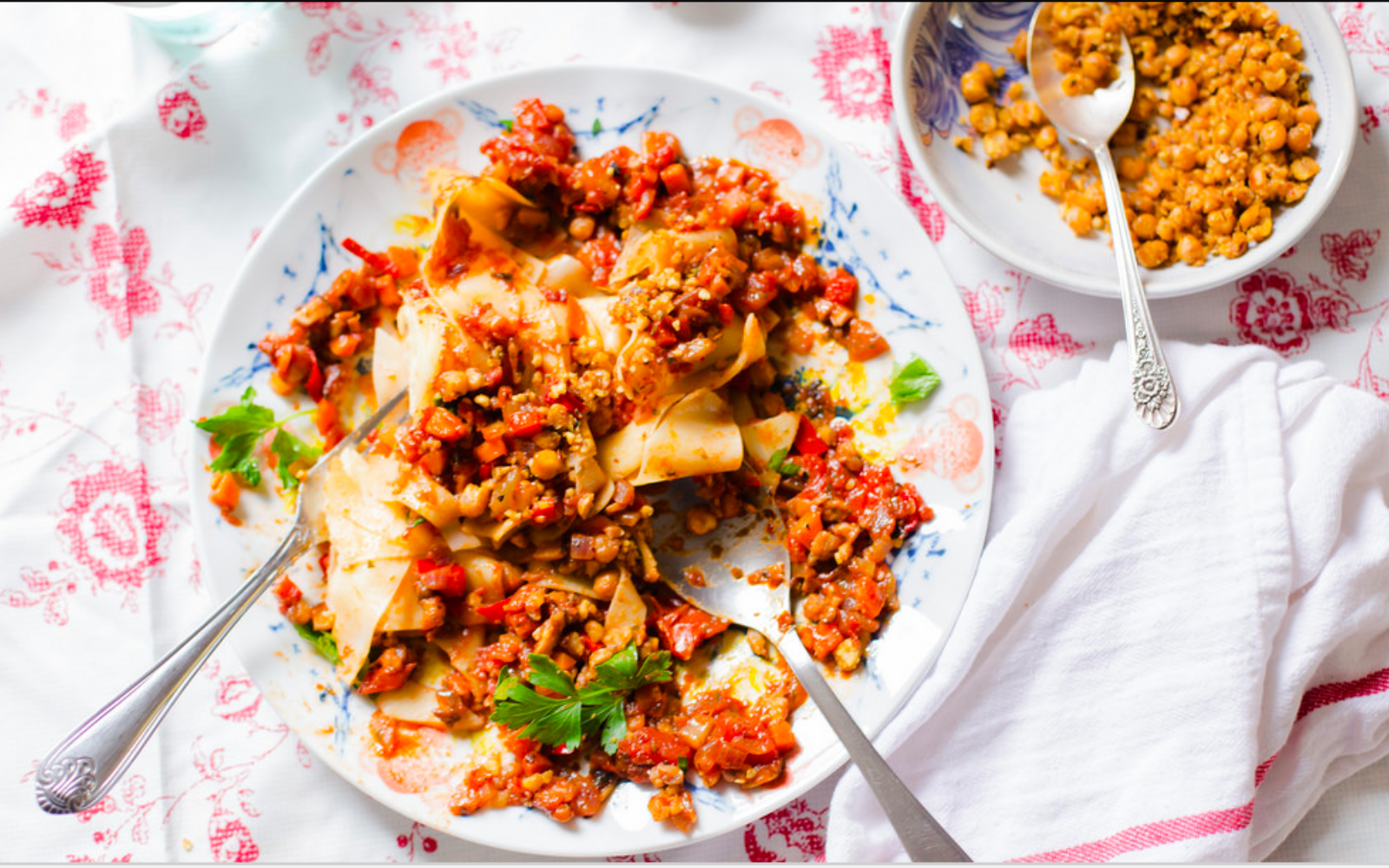 Vegan Mushroom Bolognese With Chickpea Crumble