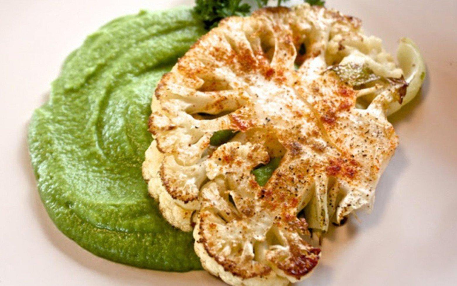 Vegan Grain-Free Cauliflower Steaks With Sweet Pea Purée
