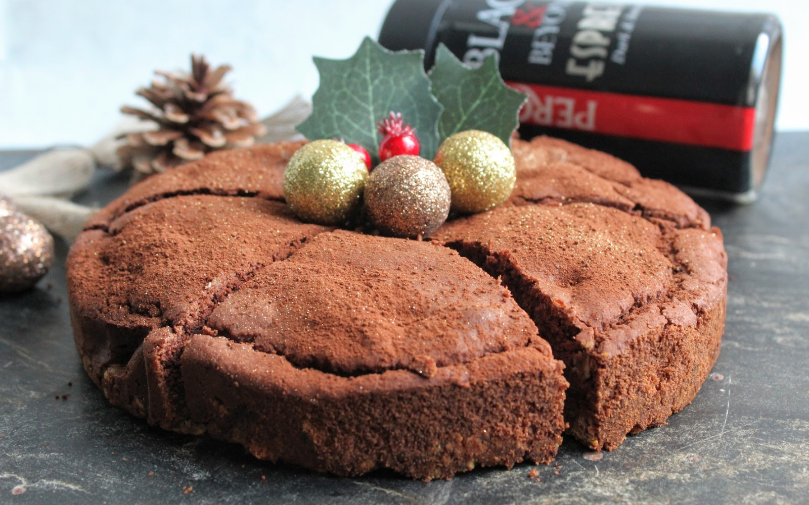 vegan chocolate, coffee and chestnut torte