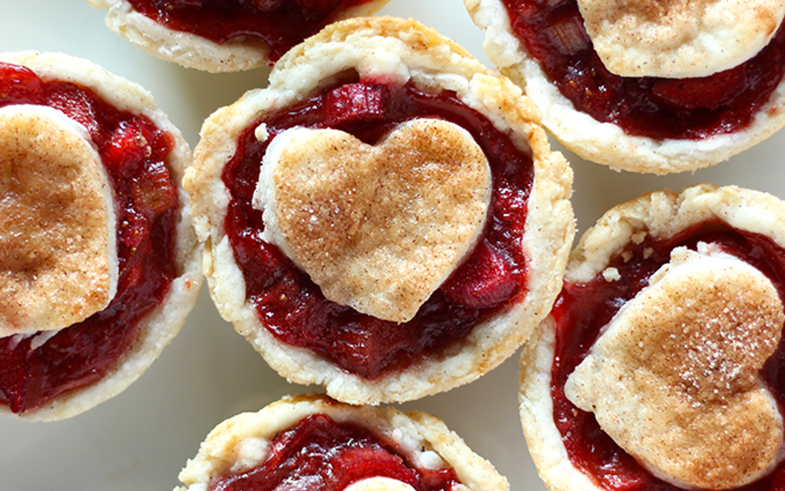 Vegan Mini Strawberry Rhubarb Pies Topped With Heart
