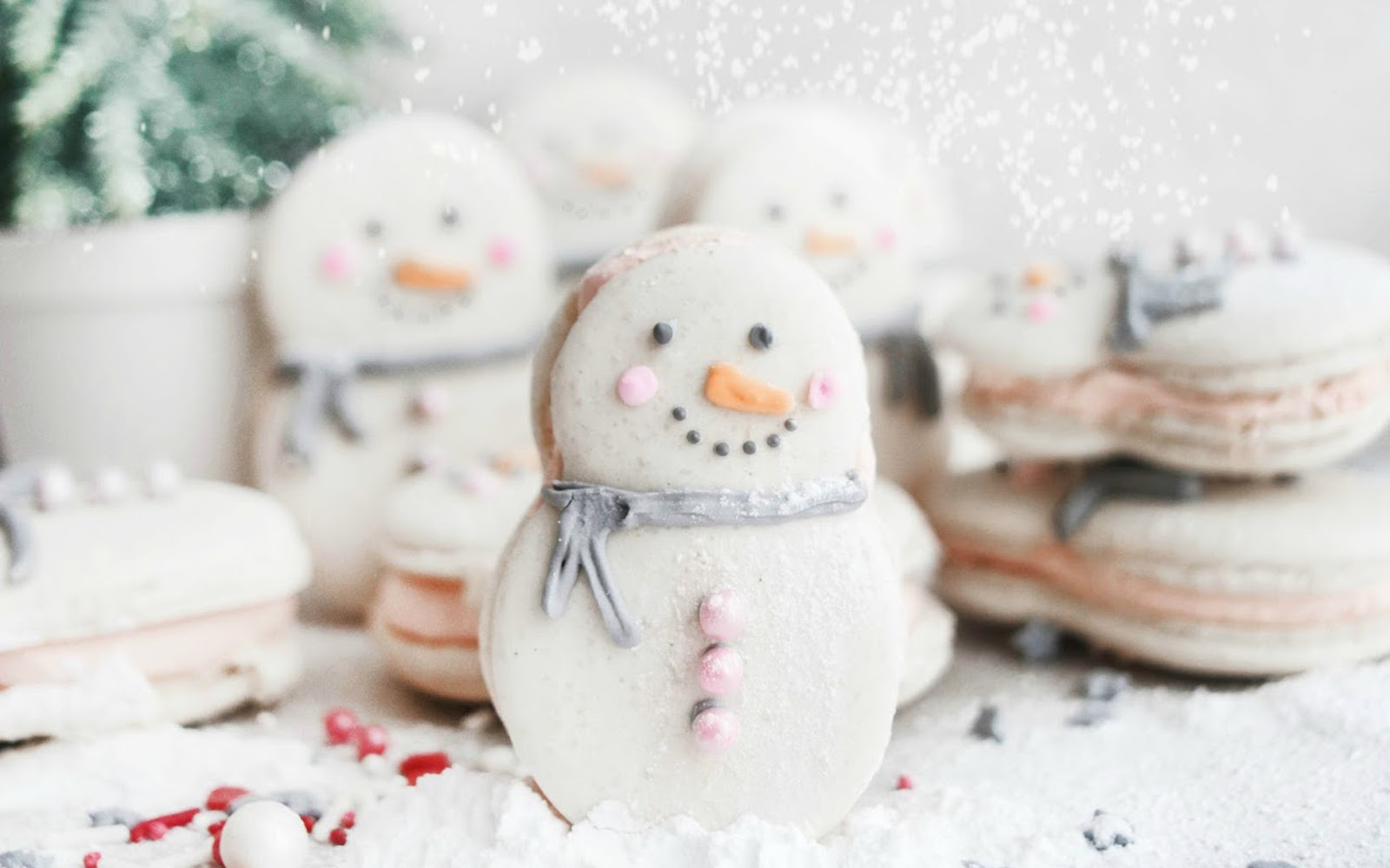 Vegan Snowman Macarons upright