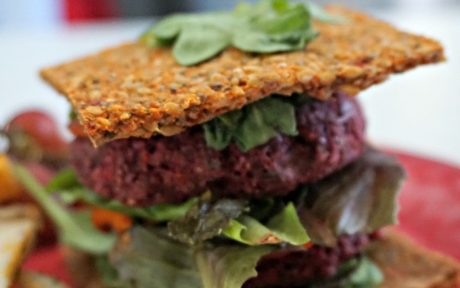 Raw Vegan Nut-Free Beet-Sunflower Seed Burger