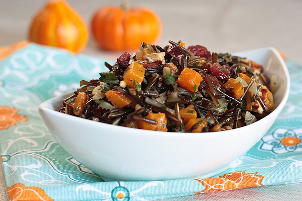 Vegan Wild Rice Pilaf With Butternut Squash, Cranberries, and Pecans
