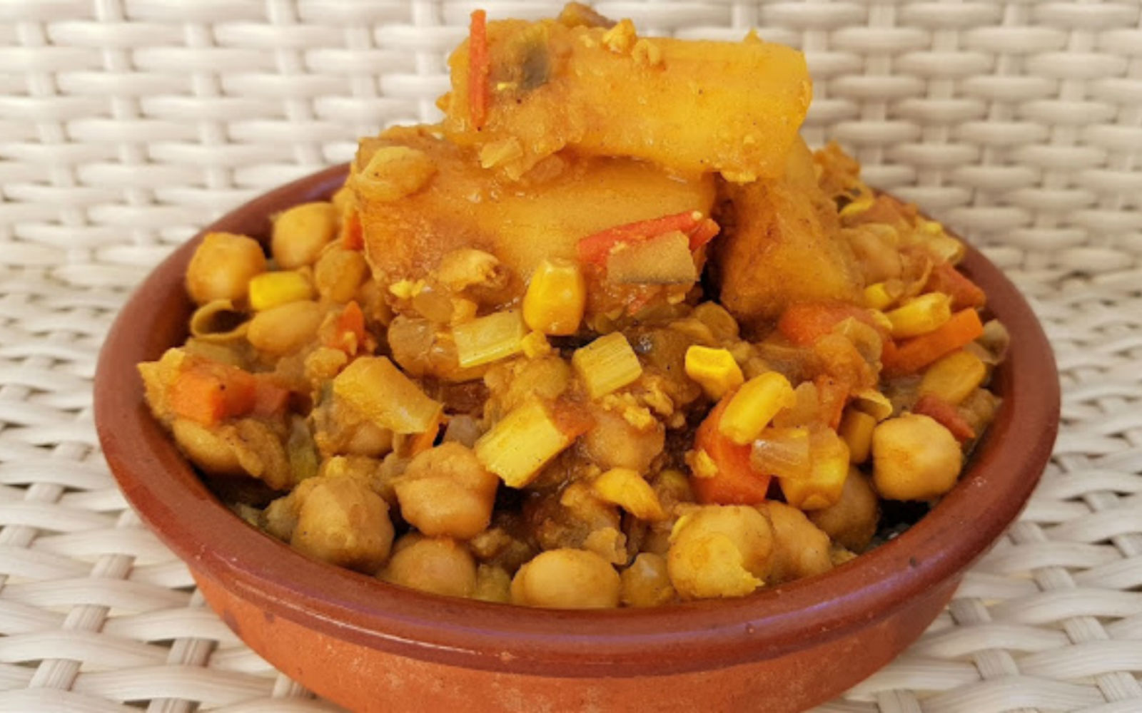Vegan Chickpea Curry with Yucca and carrots and corn