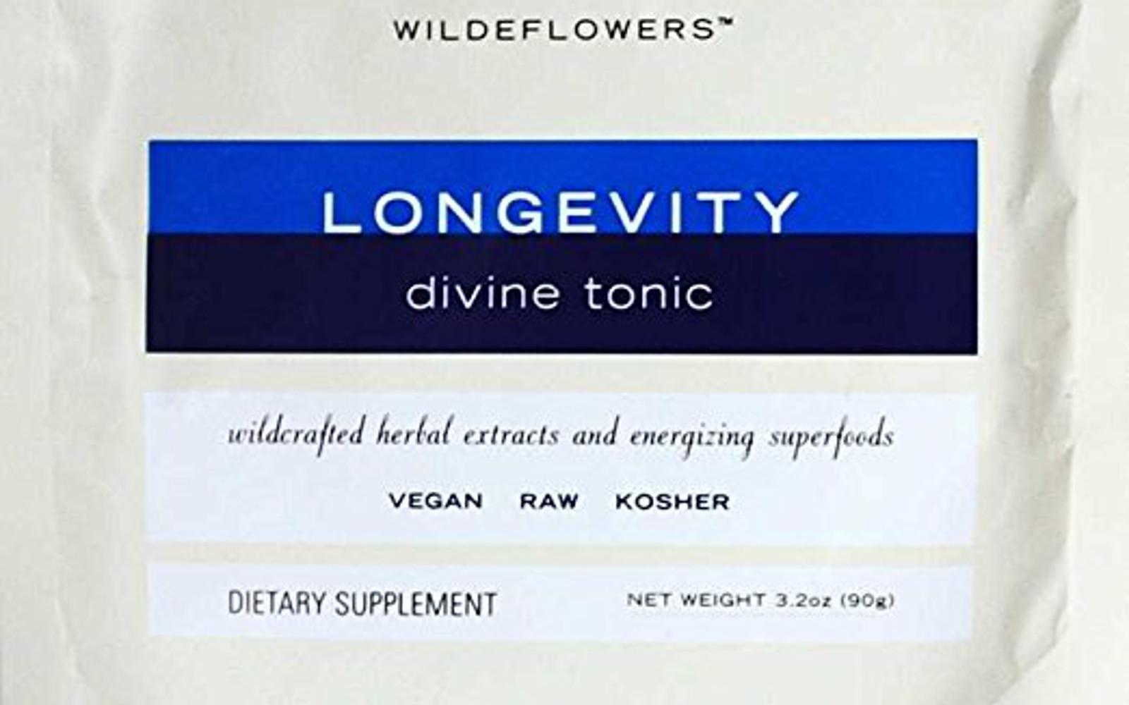 Wildeflowers Longevity Divine Tonic Hot Chocolate Mix - Organic, Natural, Kosher, Vegan, Gluten Free, Rich In Zinc And Iron With Raw Cacao, 3.2 Ounces