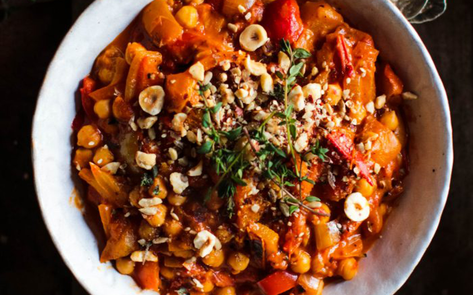Vegan Gluten-Free Roasted Pepper and Chickpea Stew with Hazelnut Dukka with garnish and nutsd