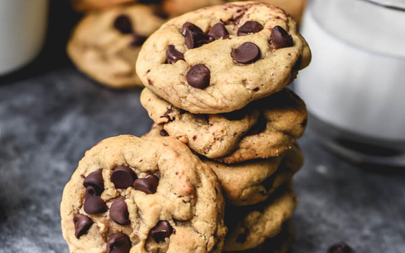 Vegan, Gluten-Free Almond Flour Chocolate Chip Cookies with dairy-free milk