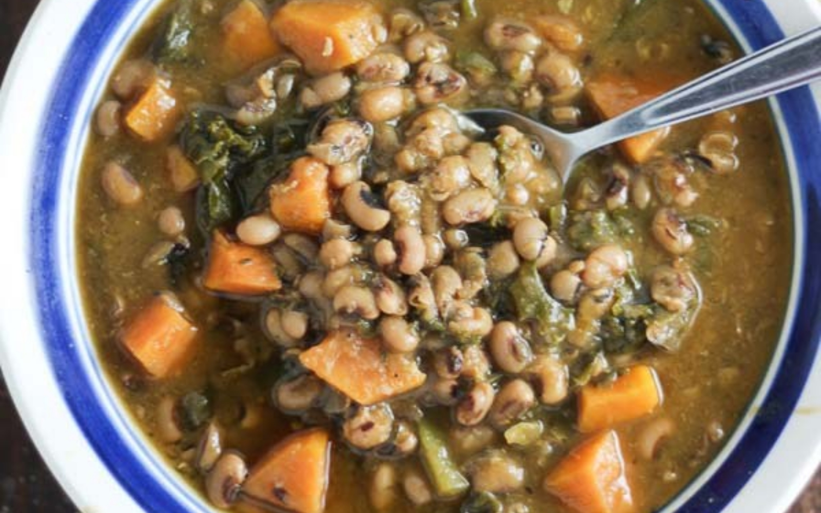 Slow Cooker Sweet Potato Kale Black Eyed Pea Soup [Vegan, Gluten-Free, Soy-Free]