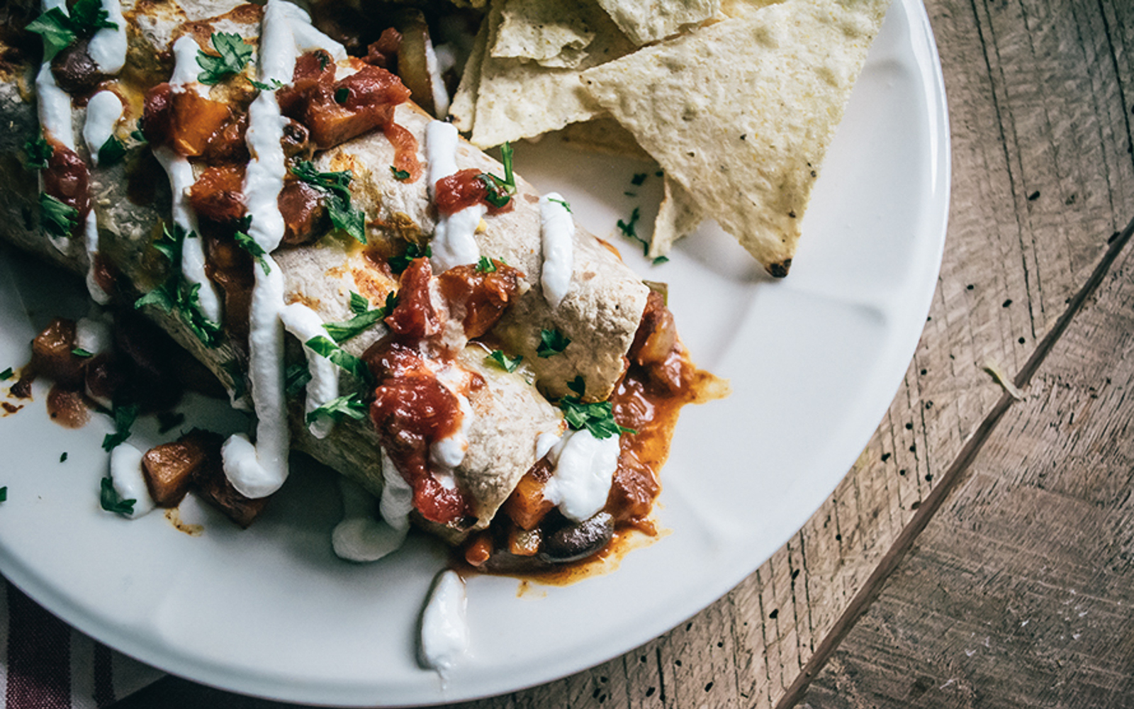 Vegan Butternut Squash Black Bean Enchiladas