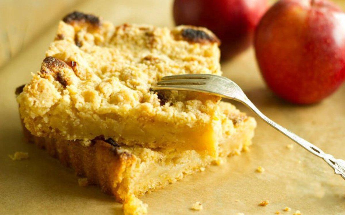 Vegan Gluten-Free Apfelkuchen: German Apple Cake in squares stacked
