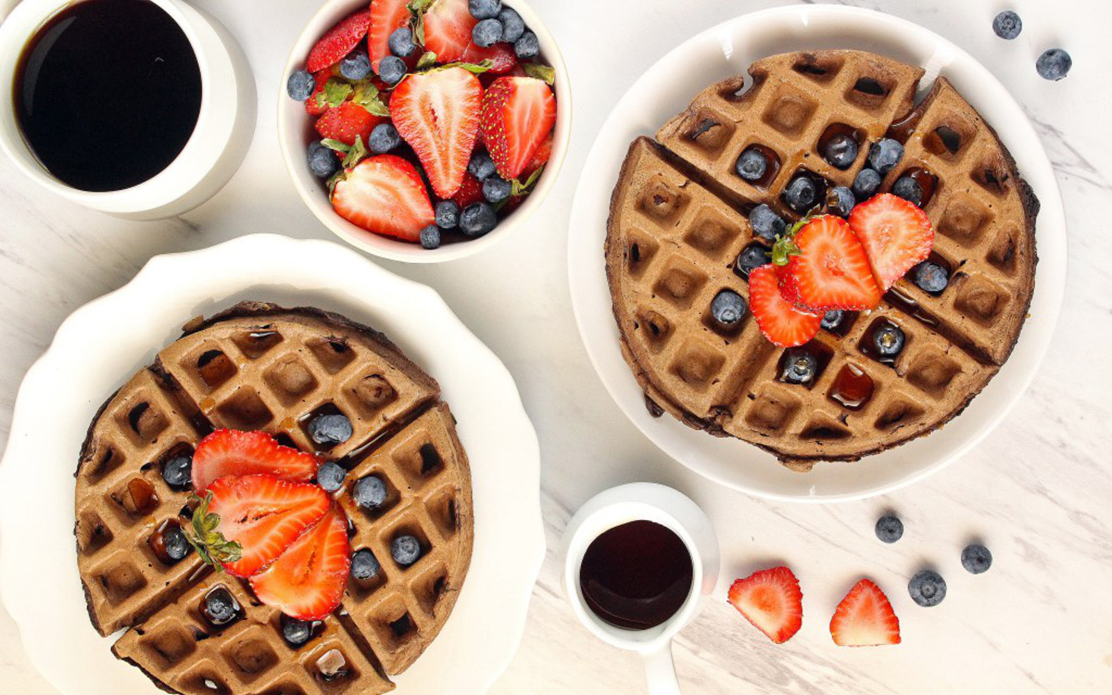 Vegan Gluten-Free Chocolate Zucchini Waffles with fresh fruit and coffee