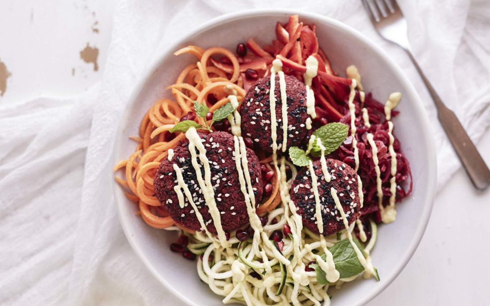 Gluten-Free Vegan Beetroot Falafel Rainbow Salad with topping