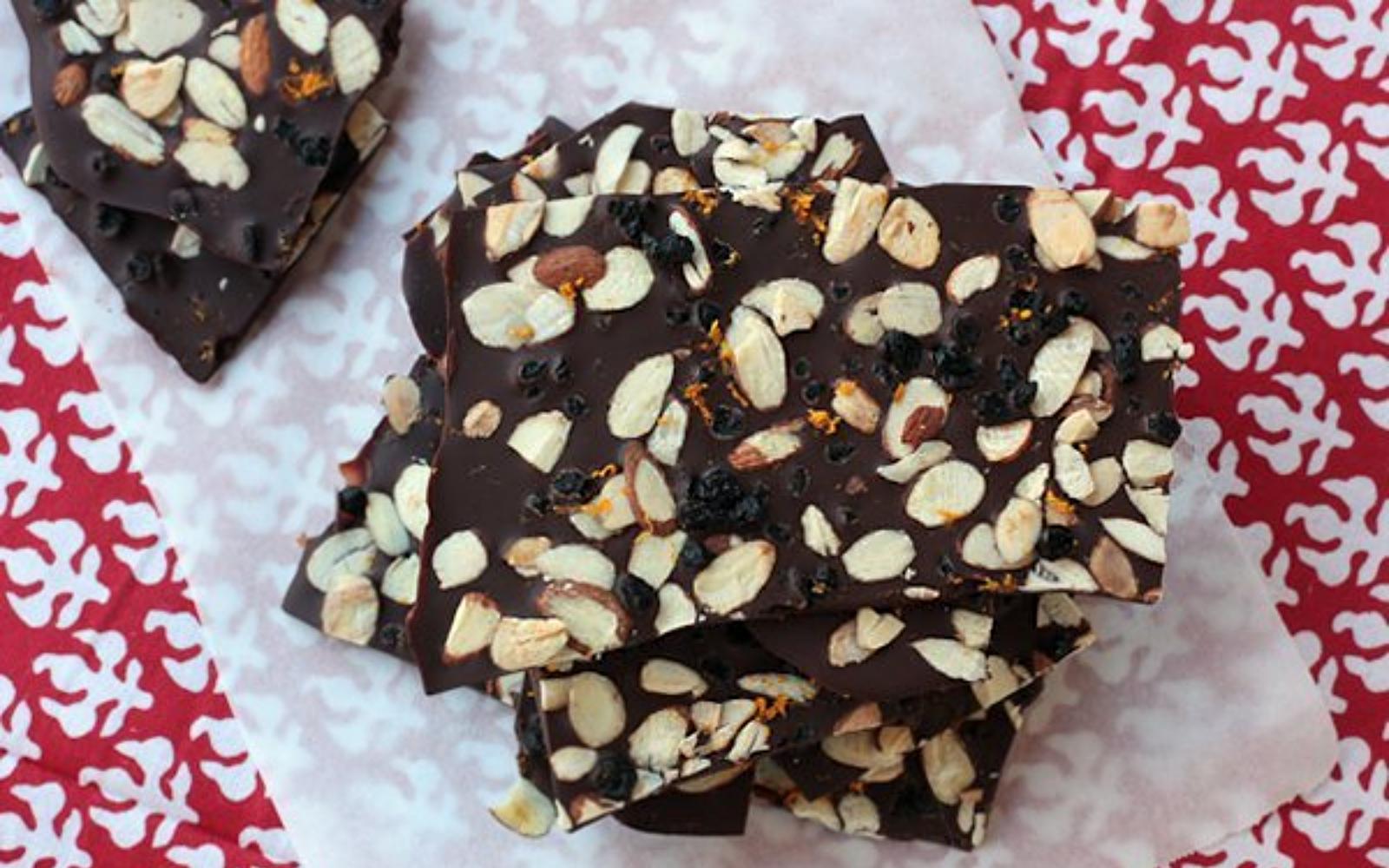 Vegan Blueberry-Almond Dark Chocolate Bark