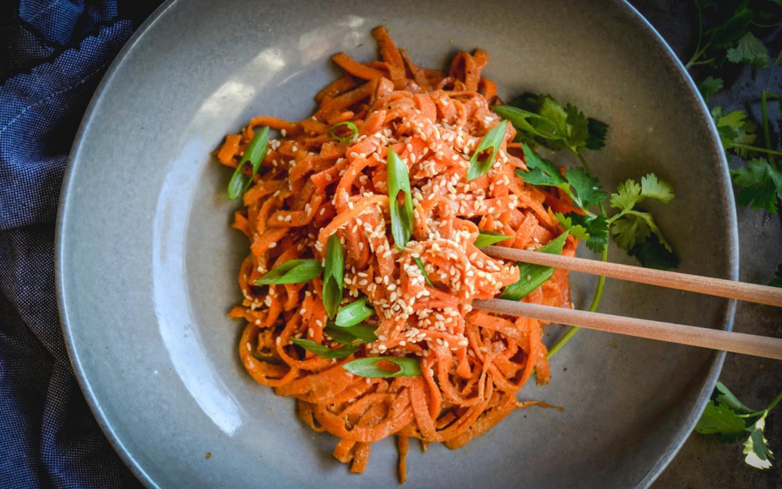 Vegan Gluten-Free Paleo Carrot Noodles With Almond Sesame Sauce