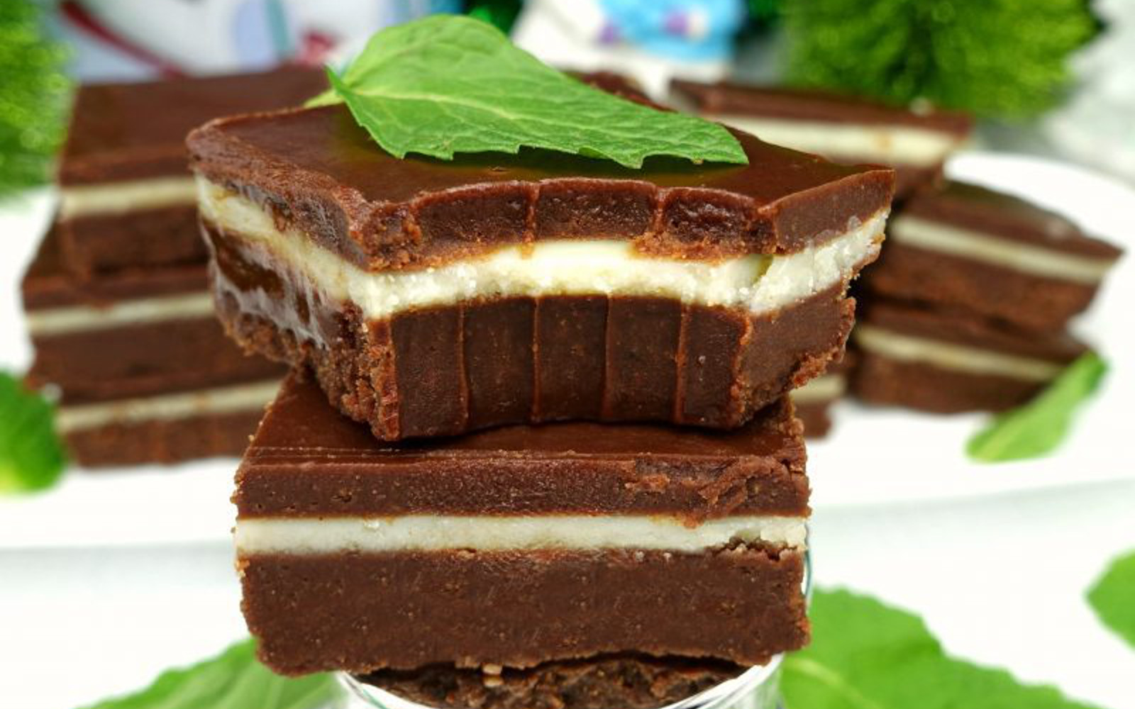 Vegan Paleo, Gluten-Free Dark Chocolate Andes Mint Fudge topped with fresh mint