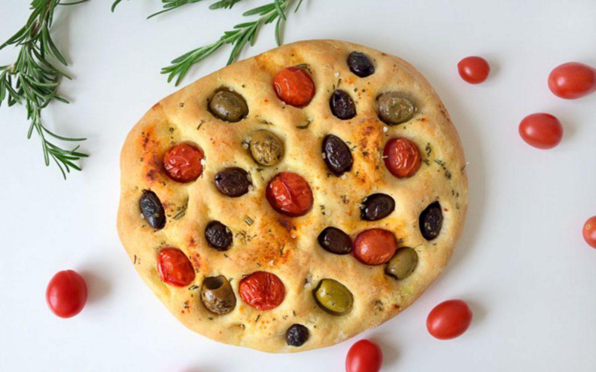 Vegan Olive and Tomato Focaccia Bread