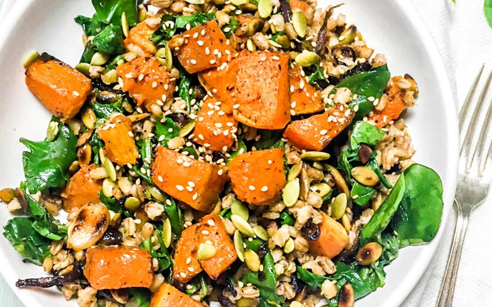 vegan roasted zaatar salad with tahini sauce