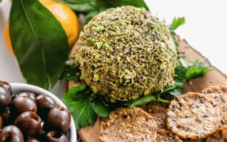 Herb and Pistachio Crusted Spirulina Blue Cheese