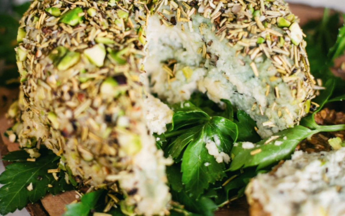 Vegan Herb and Pistachio Crusted Spirulina Blue Cheese