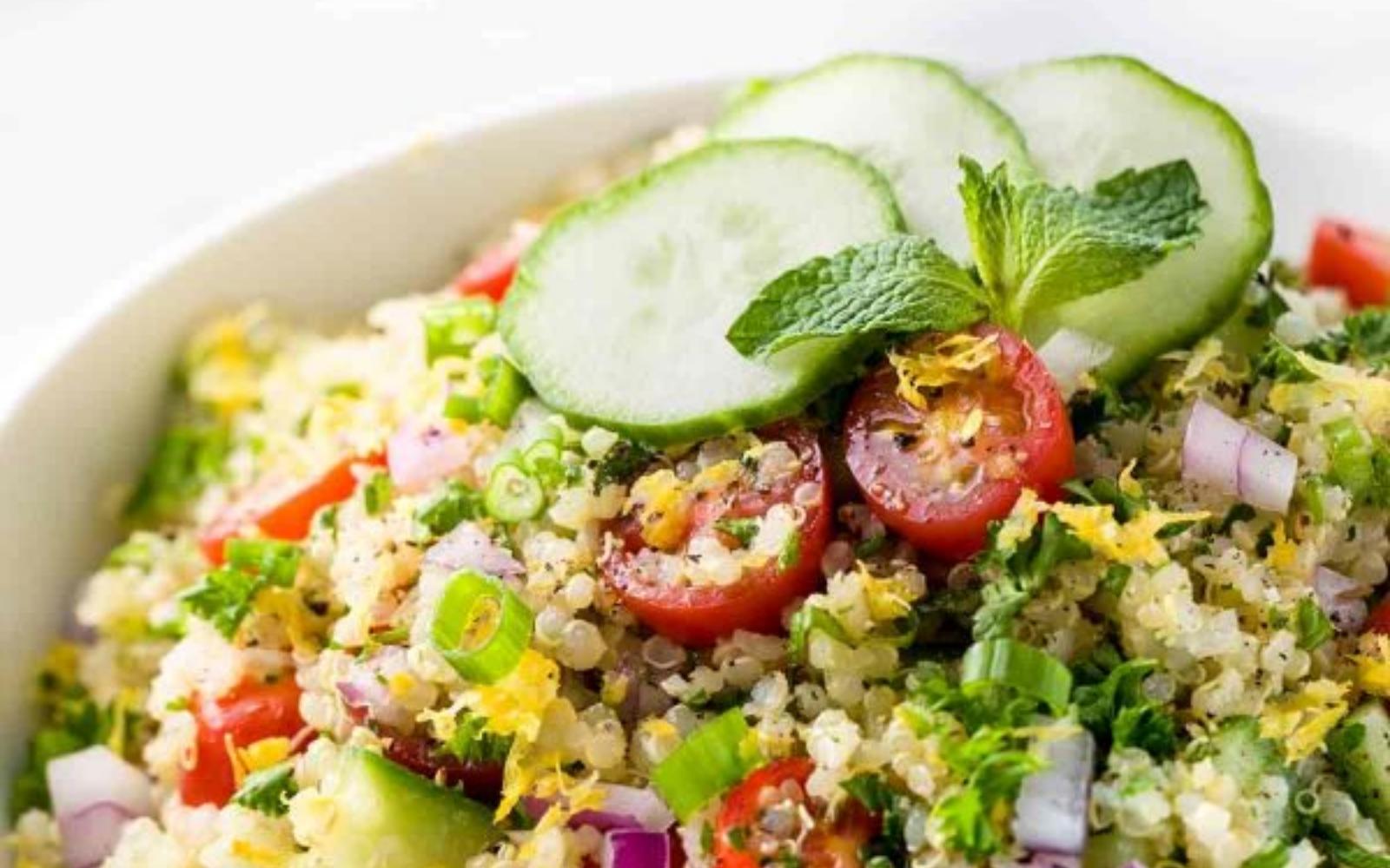 Vegan Quinoa Tabbouleh With Lemon Garlic Dressing [Vegan]