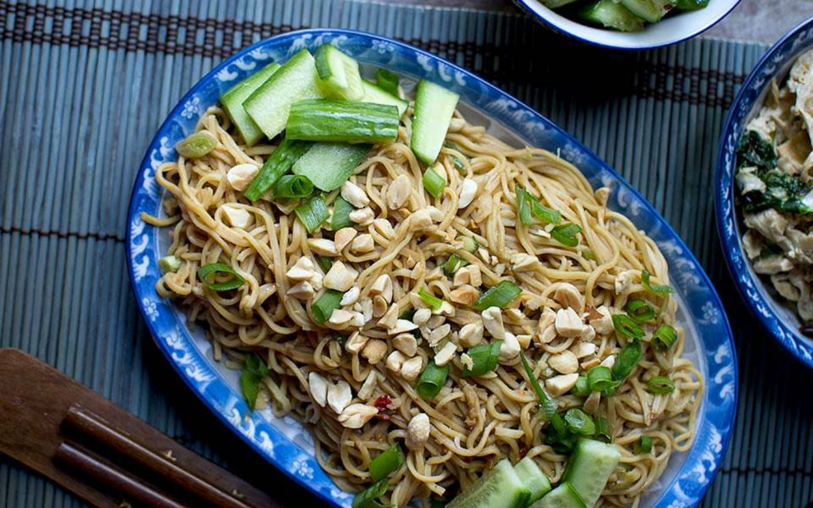 Vegan Chinese Cold Sesame Noodles topped with nuts and veggetables