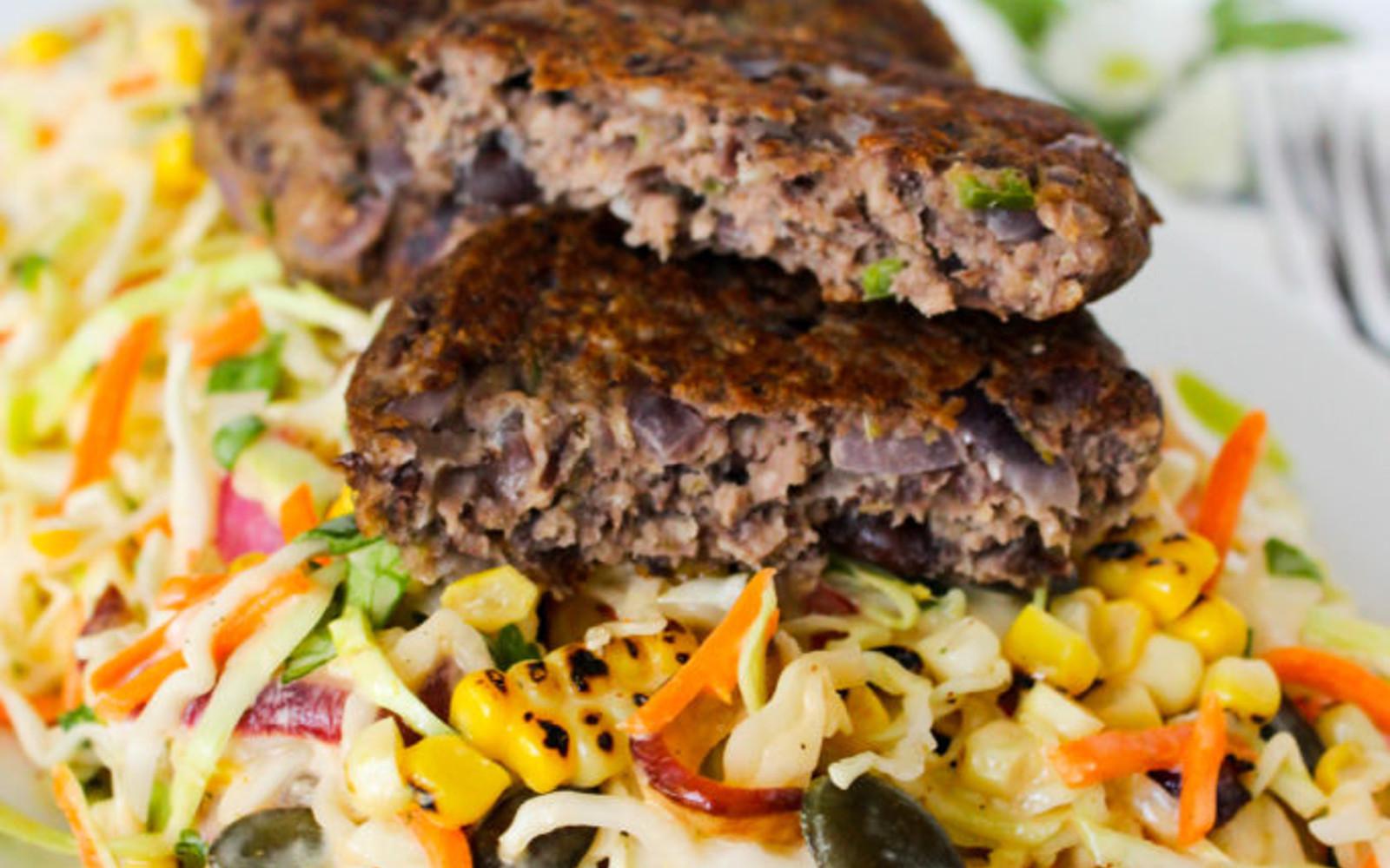 Gluten-FreeVegan Jalapeño Black Bean Patties with Mexican Coleslaw cut open