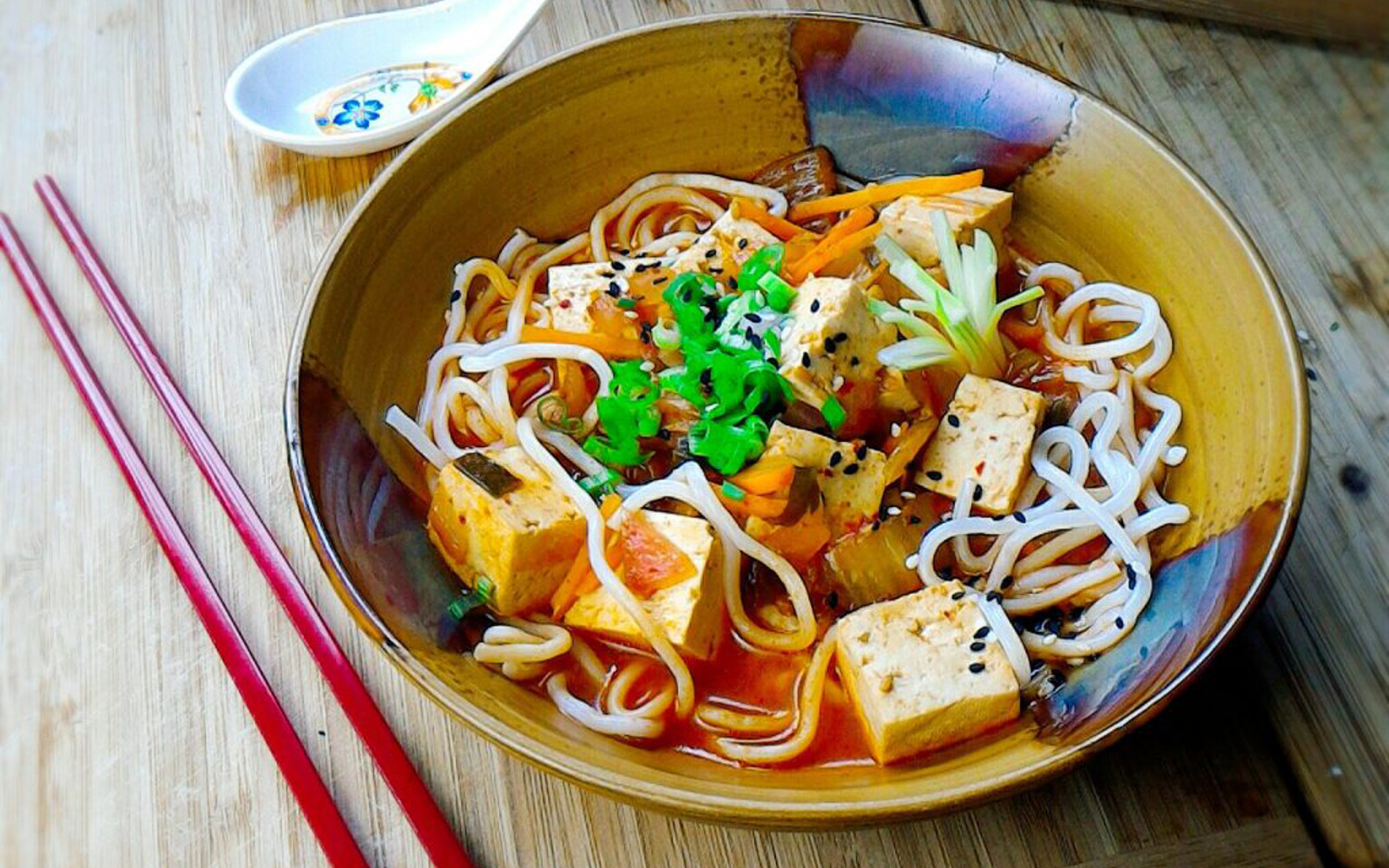 vegan Korean Style Tofu Stew with noodles