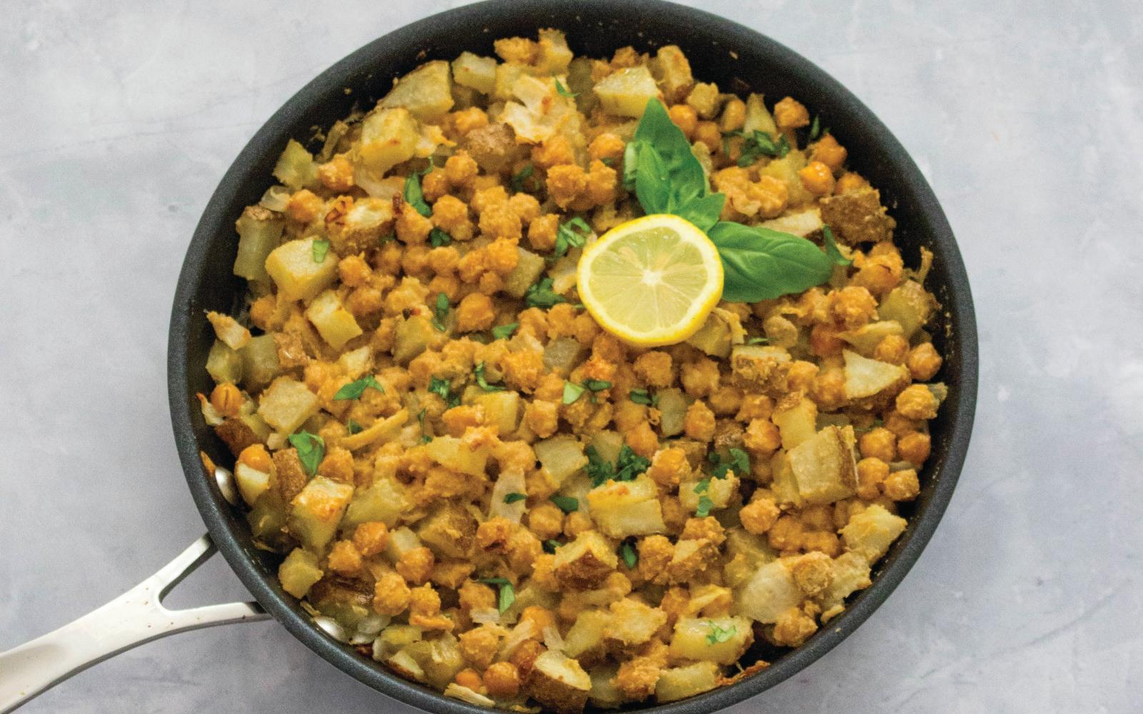 vegan lemon chickpea bake