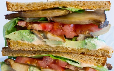 Vegan M.A.L.T. Sandwich with Spicy Aioli, tomato, mushrooms and spread