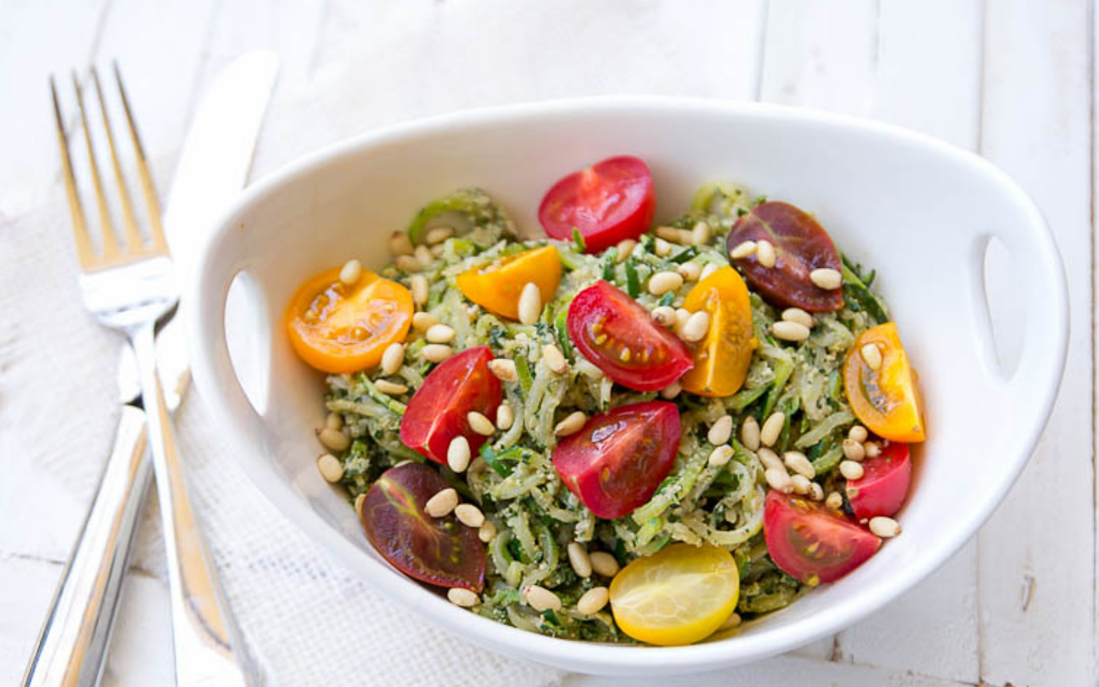 Vegan Zucchini Noodles With Spicy Kale and Walnut Pesto