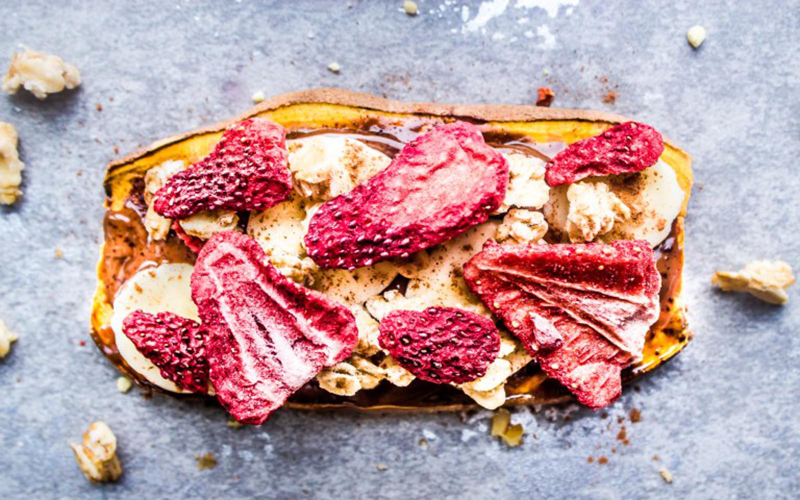 Gluten-Free Vegan Low-Carb Chocolate and Strawberry Sweet Potato Toasts with banana, granola, and hazelnut spread