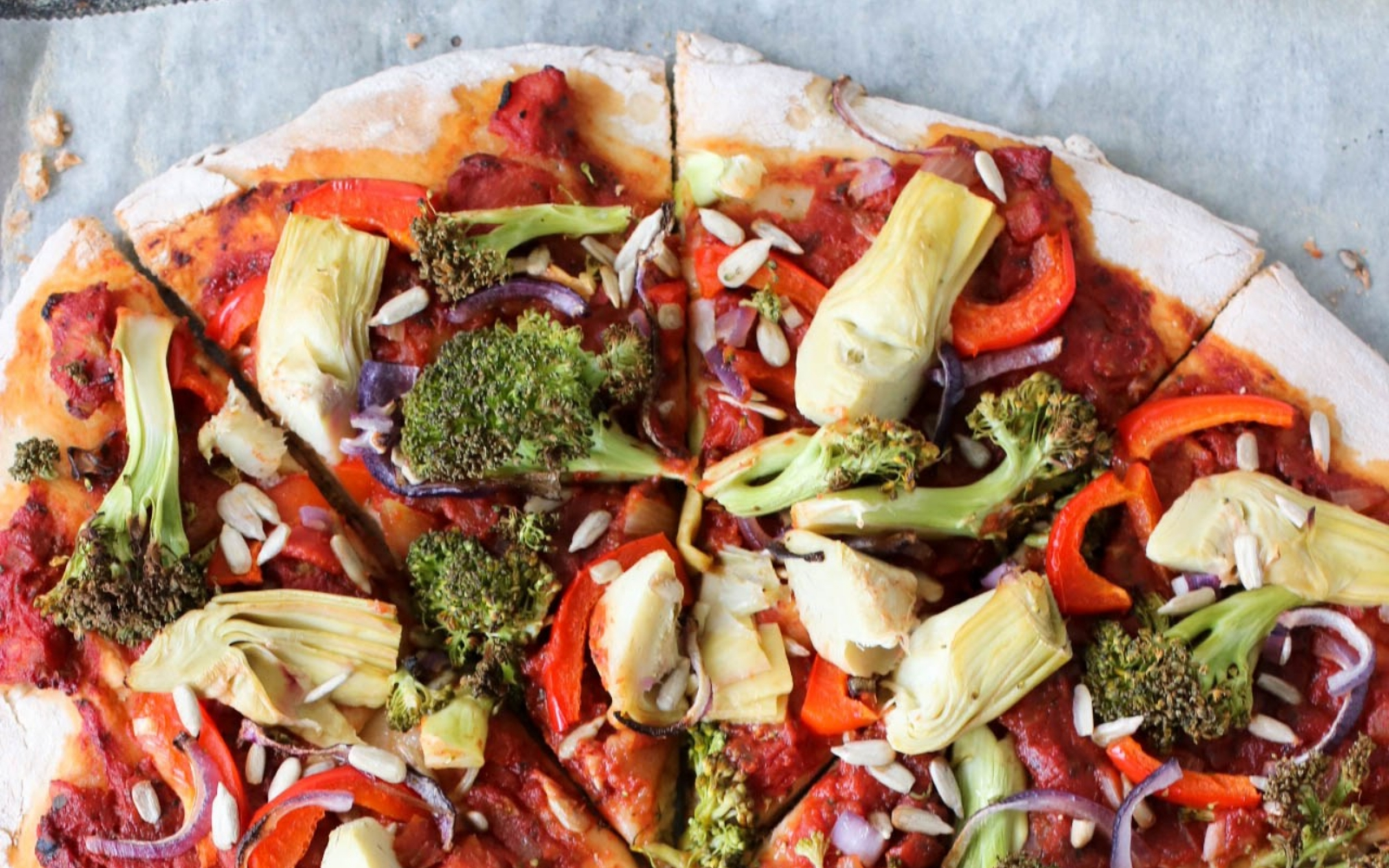 Vegan Wholesome Pizza With Broccoli and Artichoke