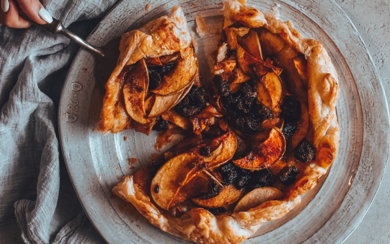 Vegan Sweet Plum and Apple Cinnamon Pizza Pie