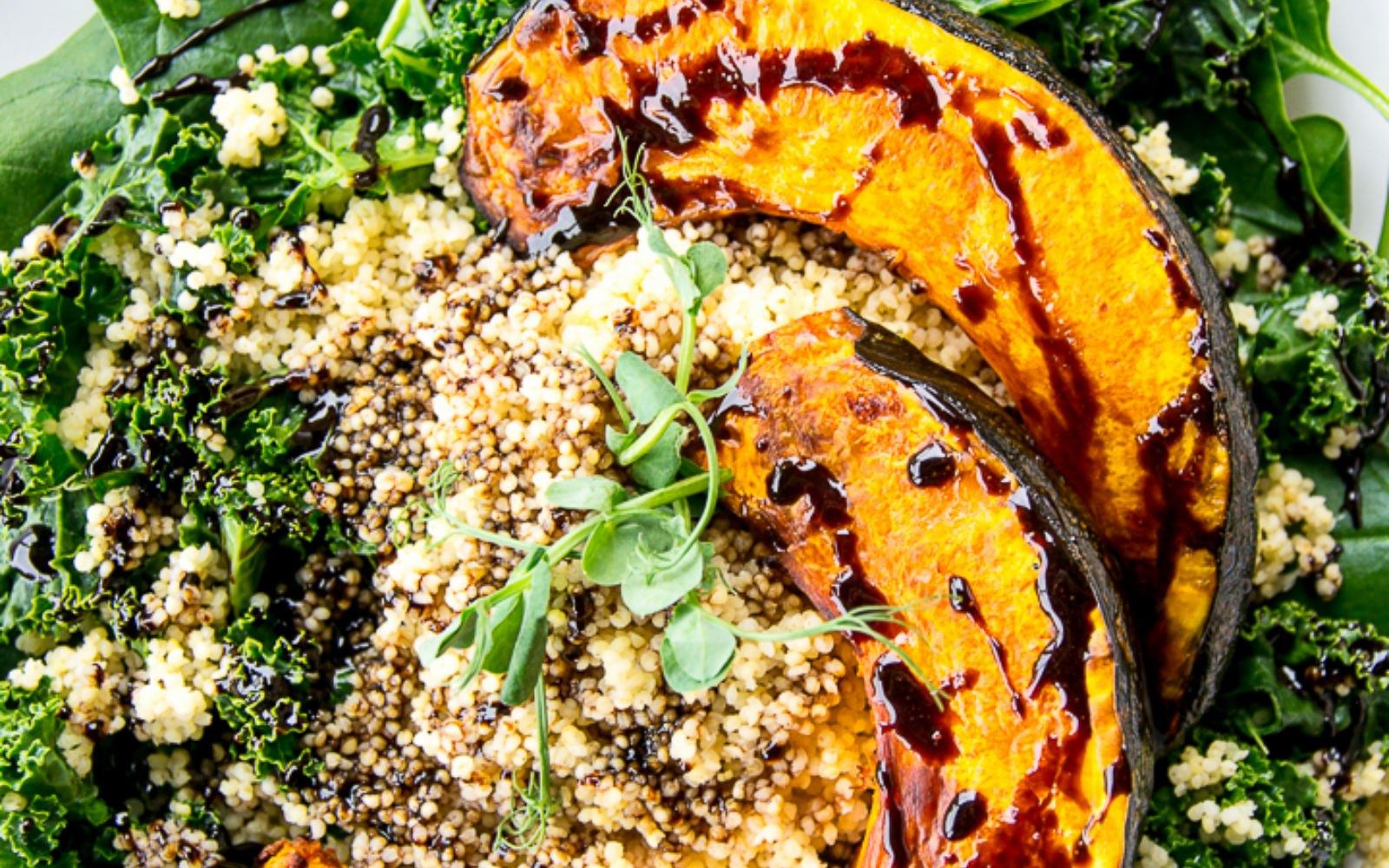 Vegan Gluten-Free Pumpkin, Millet and Kale Salad with Balsamic Reduction