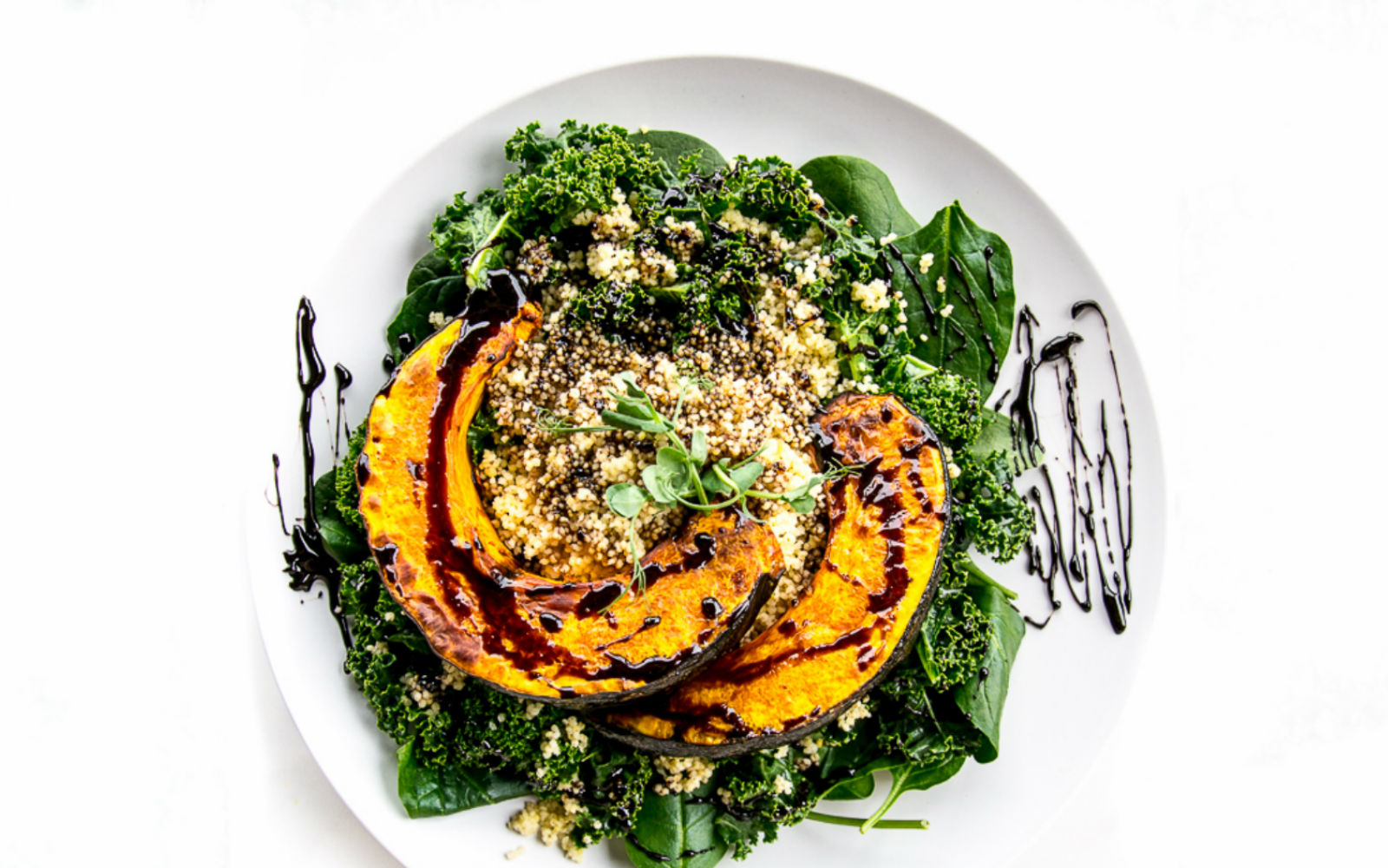 Vegan Gluten-Free Pumpkin, Millet and Kale Salad with Balsamic Reduction