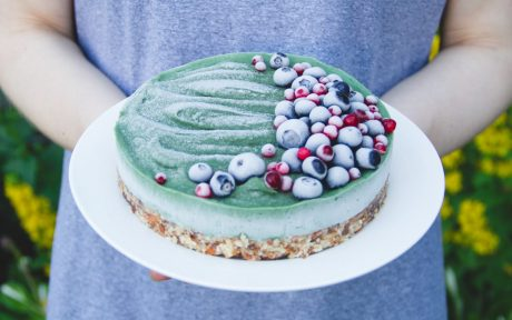 Vegan GLuten-Free Vegan Raw Superfood Avocado Cake with fruit topping