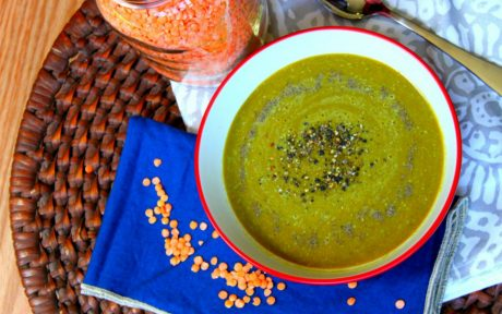 Vegan Gluten-Free anti-inflammatory red lentil soup with caramelized onions with garnish