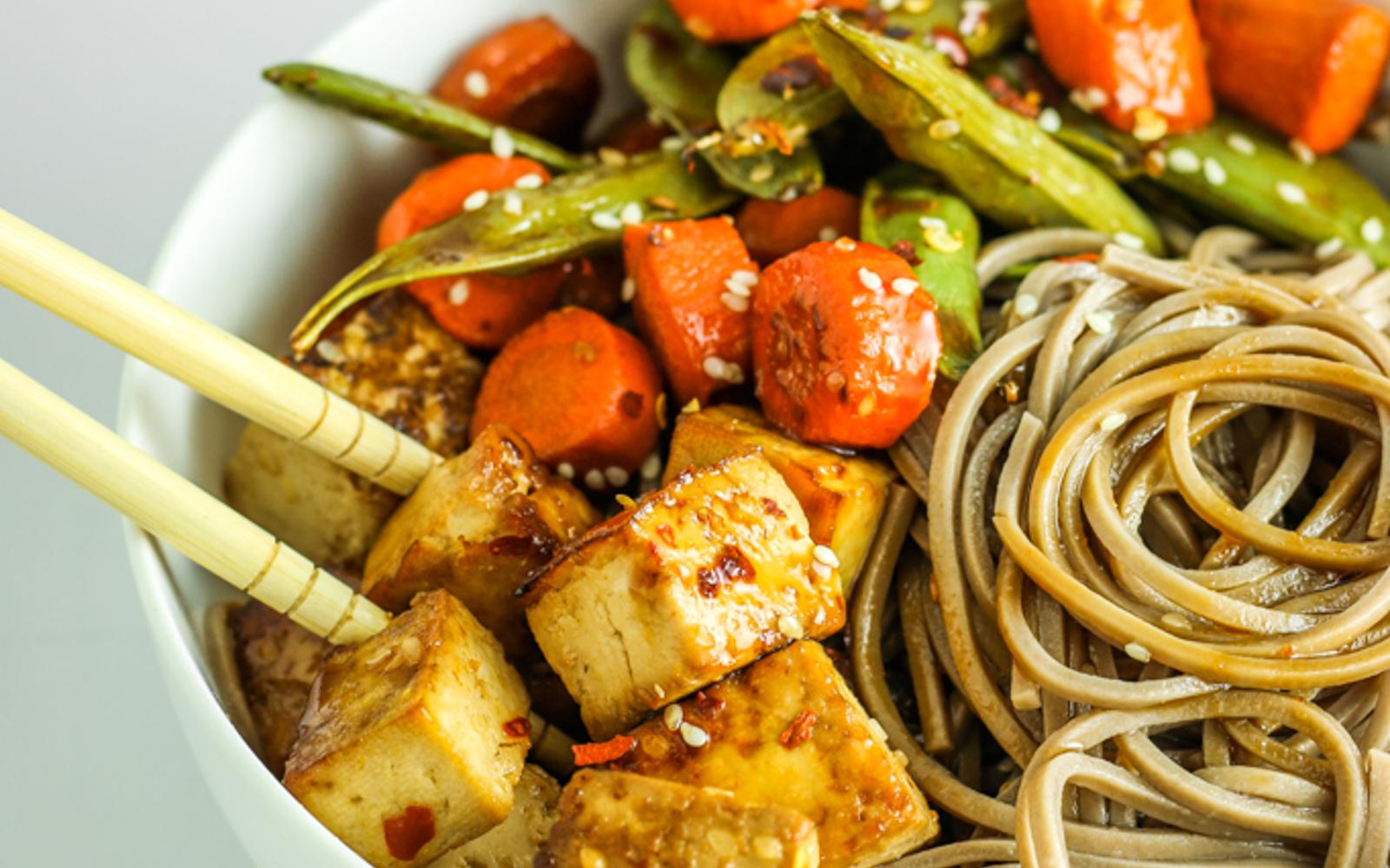 Vegan Gluten-Free Sheet Pan Tofu Stir-Fry with noodles