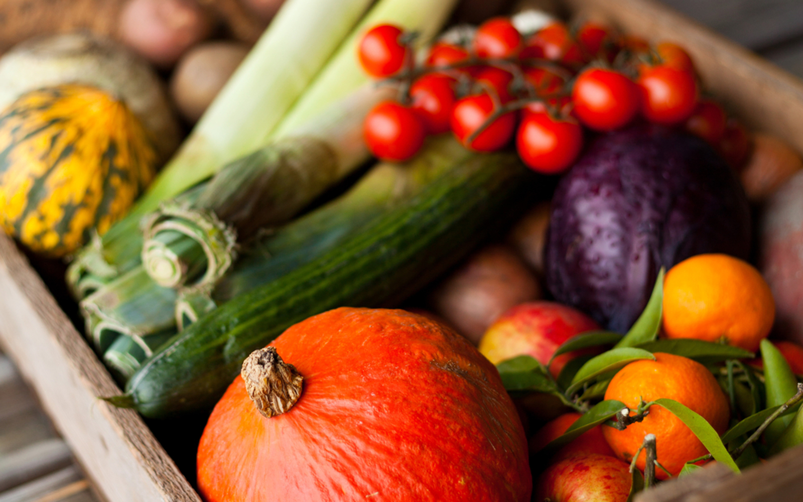 Box of colorful vegetables