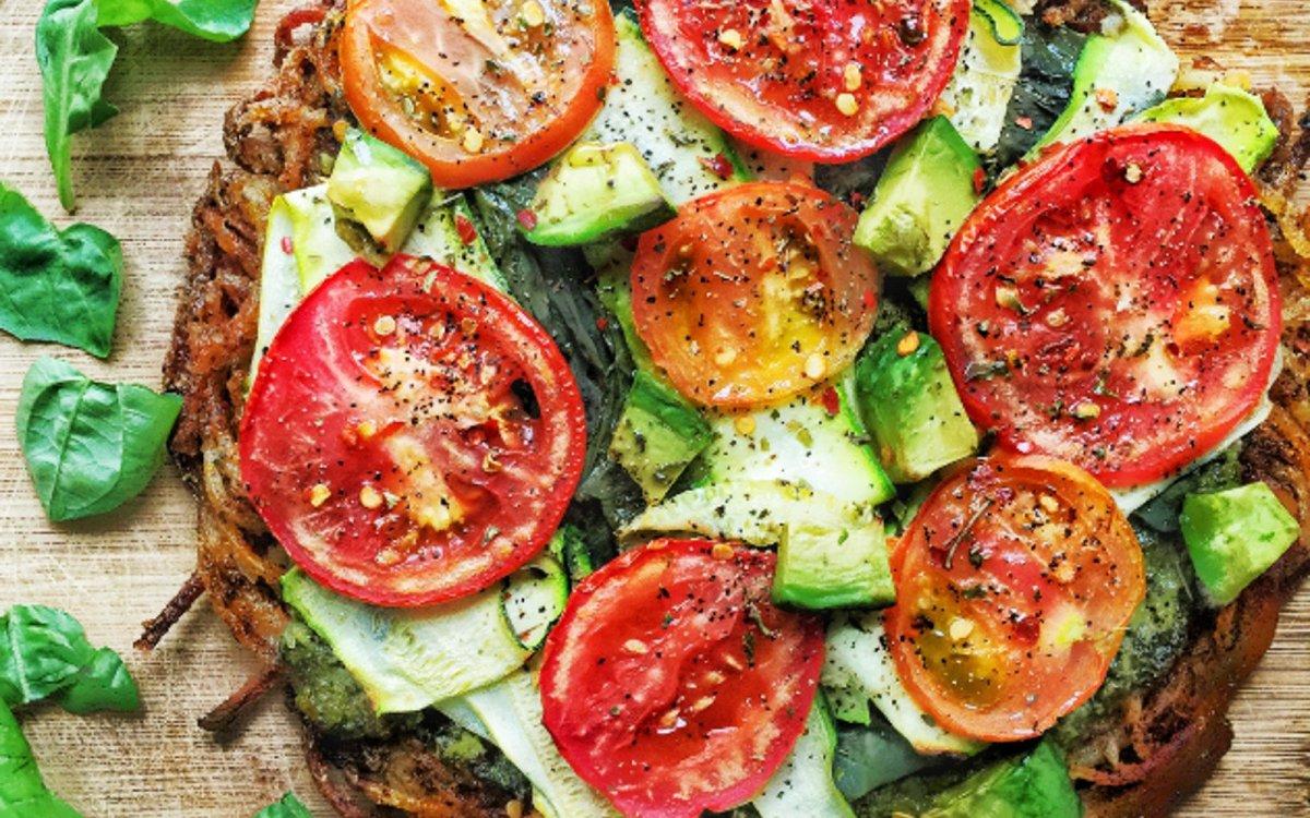 Vegan Spiralized Potato Crust Pizza With Kale Pesto