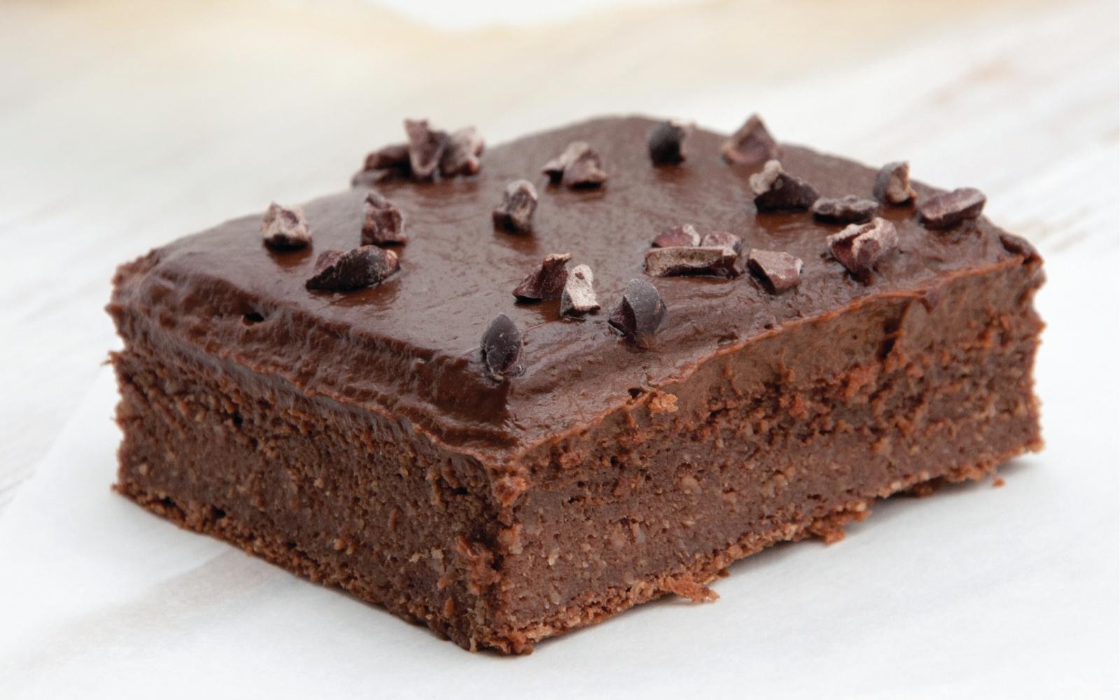 Vegan Blender Brownies with Chocolate Avocado Frosting