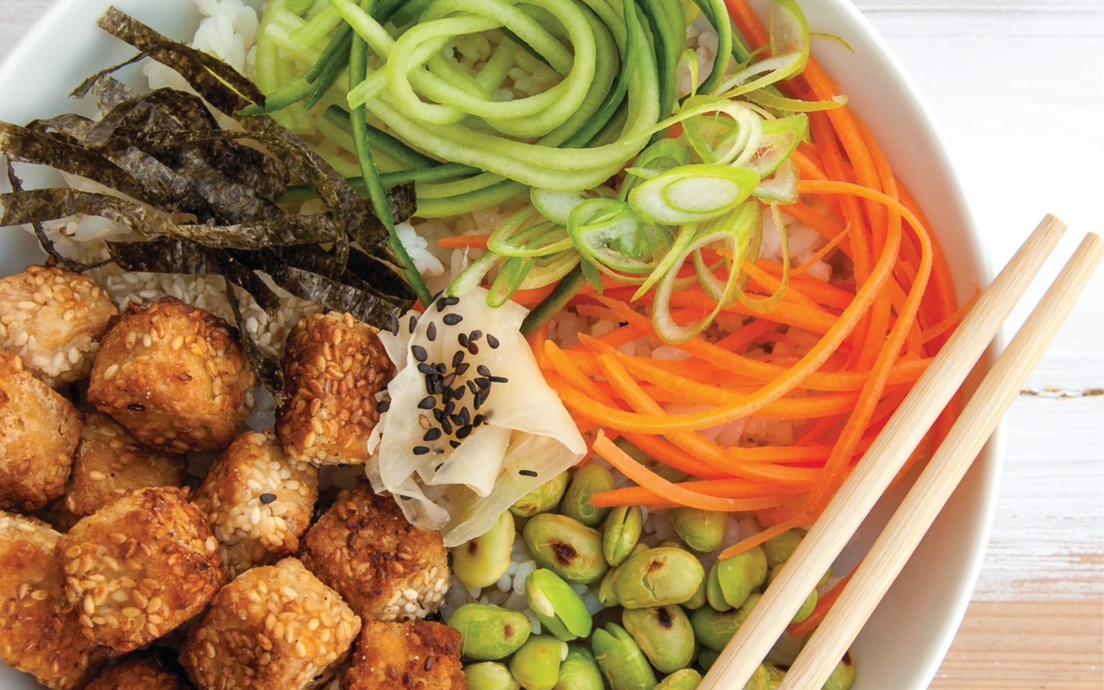 Vegan Sushi Bowl with Sesame-Crusted Tofu