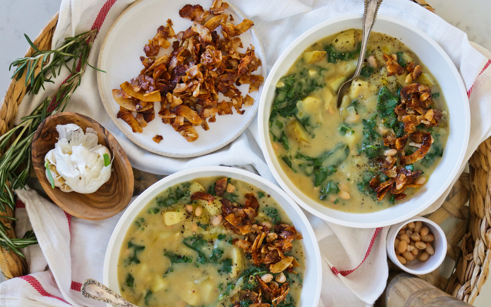 Vegan Winter White Bean Chowder With Kale and Coconut Bacon