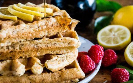 Vegan Fluffy Lemon Waffles with fruit