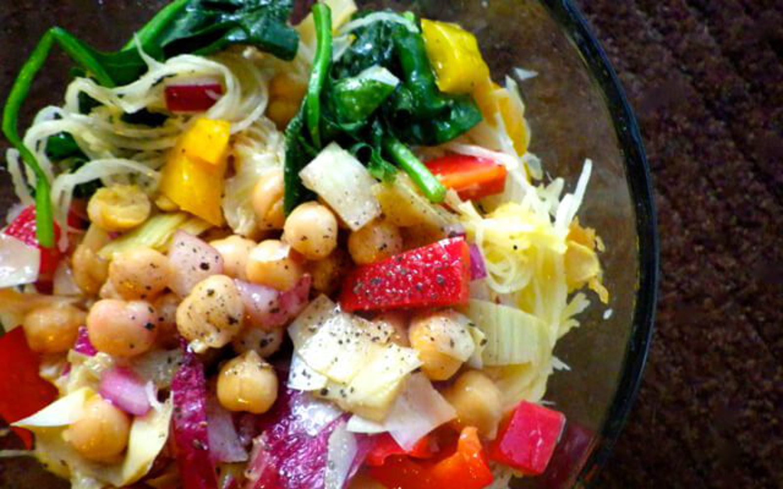 Vegan, Gluten-Free Marinated Chickpea and Artichoke Salad with peppers and spaghetti squash
