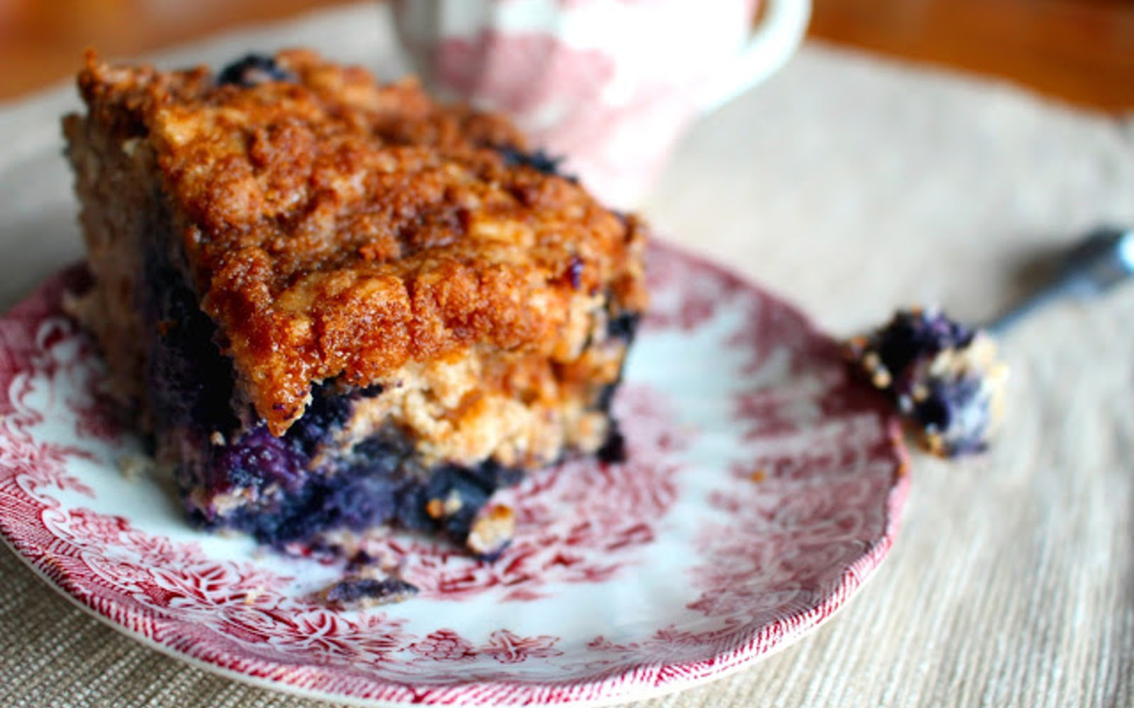 Vegan Gluten-Free Blueberry Coffee Cake with topping