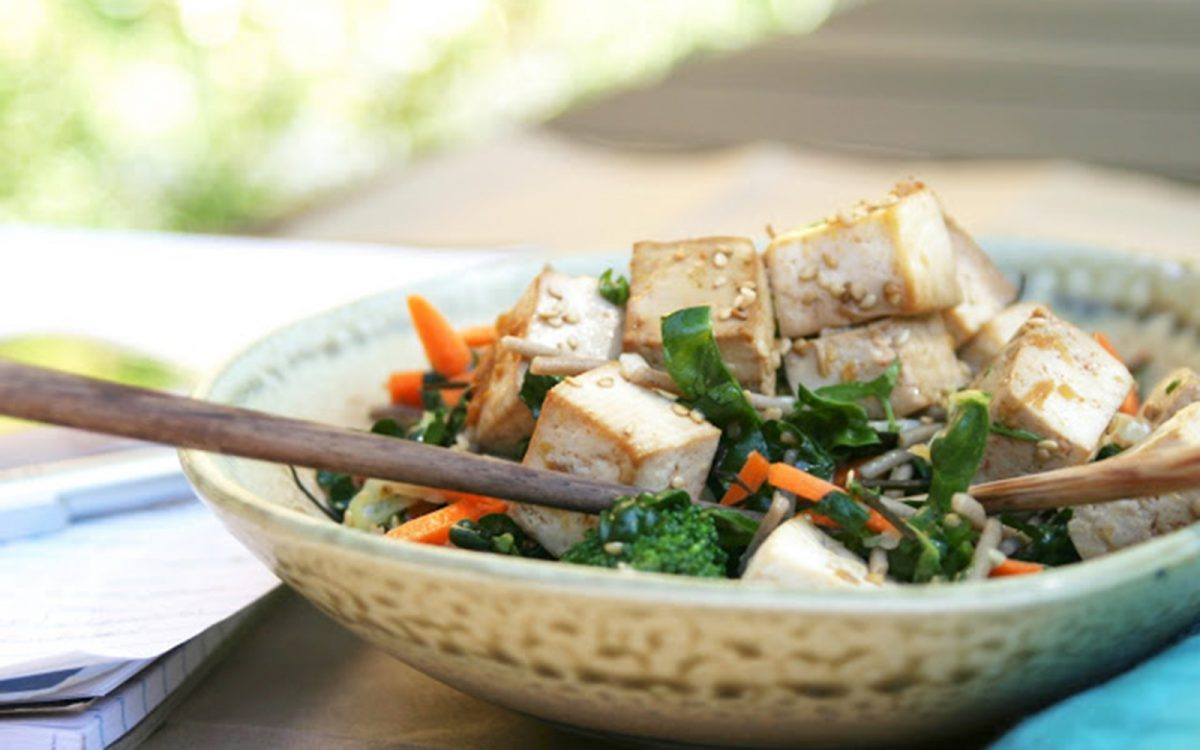 Vegan ginger citrus tofu salad with buckwheat soba noodles