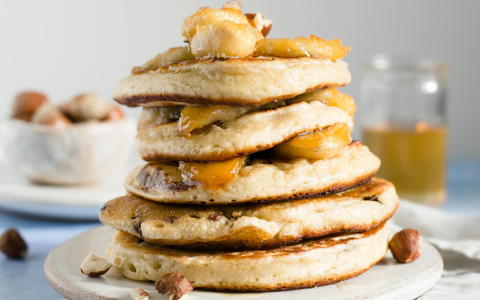 Vegan Caramelized Banana and Hazelnut Pancakes